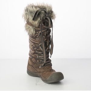 MUK LUKS Gray Gwen Tricot Insole Snow Boots Gray